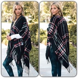 Sweaters - Chic Cozy Plaid Kimonos Sweater Wrap O/S